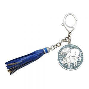 Blauw Neushoorn en olifant sleutelhanger voor raam of auto