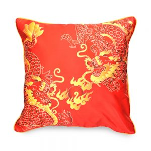 Fire double dragon cushion