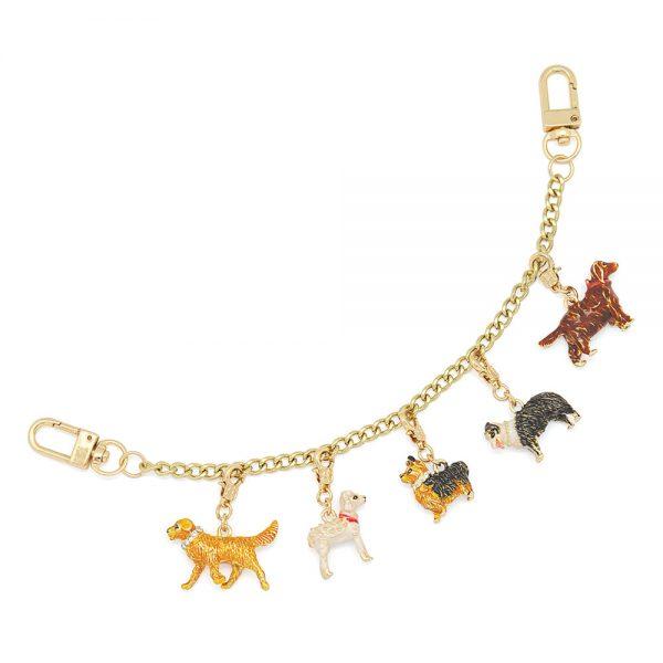 5 dogs lucky charm for handbag