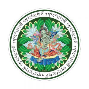 Green tara window amulet sticker