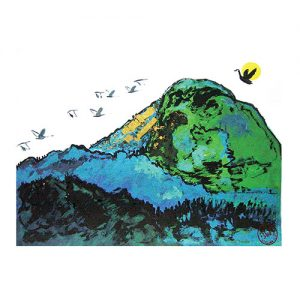 Solid Mountain with birds