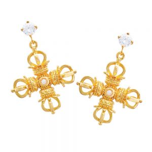 double dorje earrings yellow gold