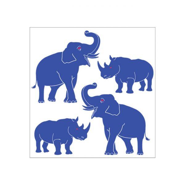 Blue Rhinoceros Elephants decals