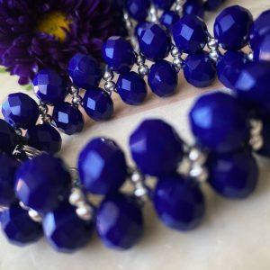 CGD600DB Dubbel rij donker blauw kristalen kraaltjes